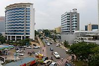 RWANDA, Kigali, city center with banks and insurance companies / RUANDA, Kigali, Stadtzentrum, Banken Buero und Versicherungstower