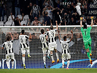 Football Soccer: UEFA Champions UEFA Champions League quarter final first leg Juventus-Barcellona, Juventus stadium, Turin, Italy, April 11, 2017. <br /> Juventus players celebrate after winning the Uefa Champions League football match between Juventus and Barcelona at the Juventus stadium, on April 11 ,2017.<br /> UPDATE IMAGES PRESS/Isabella Bonotto