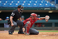 Catcher Jacob Cozart (14) of Wesleyan Christian Academy in High Point, NC playing for the Arizona Diamondbacks scout team frames a pitch during the East Coast Pro Showcase at the Hoover Met Complex on August 2, 2020 in Hoover, AL. (Brian Westerholt/Four Seam Images)
