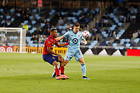 SAINT PAUL, MN - APRIL 24: Wil Trapp #20 of Minnesota United FC with the ball during a game between Real Salt Lake and Minnesota United FC at Allianz Field on April 24, 2021 in Saint Paul, Minnesota.
