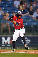 Mississippi Braves shortstop Emerson Landoni (19) at bat during a game against the Pensacola Blue Wahoos on May 28, 2015 at Trustmark Park in Pearl, Mississippi.  Mississippi defeated Pensacola 4-2.  (Mike Janes/Four Seam Images)