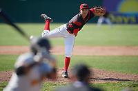 Batavia Muckdogs relief pitcher Kenny Koplove (3) follows through on a pitch during a game against the West Virginia Black Bears on June 25, 2017 at Dwyer Stadium in Batavia, New York.  Batavia defeated West Virginia 4-1 in nine innings of a scheduled seven inning game.  (Mike Janes/Four Seam Images)