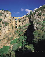 The famous gorge and bridge of the divided town of Ronda, in the Serrania de Ronda, southern Spai
