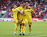 Fleetwood Town's Conor McAleny (right) celebrates scoring the opening goal <br /> <br /> Photographer David Shipman/CameraSport<br /> <br /> The EFL Sky Bet League One - Doncaster Rovers v Fleetwood Town - Saturday 17th August 2019  - Keepmoat Stadium - Doncaster<br /> <br /> World Copyright © 2019 CameraSport. All rights reserved. 43 Linden Ave. Countesthorpe. Leicester. England. LE8 5PG - Tel: +44 (0) 116 277 4147 - admin@camerasport.com - www.camerasport.com