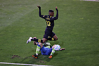 COLUMBUS, OH - DECEMBER 12: Luis Diaz #12 of the Columbus Crew trips over Shane O'Neill #27 of the Seattle Sounders FC during a game between Seattle Sounders FC and Columbus Crew at MAPFRE Stadium on December 12, 2020 in Columbus, Ohio.