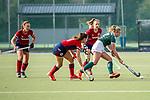 Mannheim, Germany, October 18: During the 1. Bundesliga women fieldhockey match between Mannheimer HC (red) and Uhlenhorst Muelheim (green) on October 18, 2020 at Am Neckarkanal in Mannheim, Germany. Final score 1-0 (HT 0-0). (Copyright Dirk Markgraf / www.265-images.com) *** Ida-Marie Koellinger #12 of Uhlenhorst Muelheim, Clara Badia Bogner #9 of Mannheimer HC