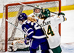 16 February 2019: University of Vermont Catamount Goaltender Melissa Black, a Senior from Newmarket, Ontario, makes a third period save against the Holy CrossCrusaders at Gutterson Fieldhouse in Burlington, Vermont. The Lady Cats defeated the Crusaders 4-1 to sweep their 2-game weekend series. Mandatory Credit: Ed Wolfstein Photo *** RAW (NEF) Image File Available ***