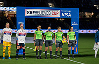 ORLANDO, FL - FEBRUARY 24: The referees stand for the national anthem before a game between Argentina and USWNT at Exploria Stadium on February 24, 2021 in Orlando, Florida.
