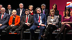 © Joel Goodman - 07973 332324 . 13/04/2015 . Manchester , UK . Members of the Shadow Cabinet watch as Labour Party leader Ed Miliband launches the Labour Party manifesto ahead of the General Election at the Old Granada Studios in Manchester , UK . Photo credit : Joel Goodman