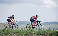 "Vincenzo Nibali (ITA/Trek-Segafredo) & Giulio Ciccone (ITA/Trek - Segafredo) on the first gravel sector of the stage<br /> <br /> 104th Giro d'Italia 2021 (2.UWT)<br /> Stage 11 from Perugia to Montalcino (162km)<br /> ""the Strade Bianche stage""<br /> <br /> ©kramon"