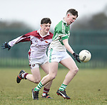 Cillian Rouine of  Ennistymon CBS  in action against Tommy Carberry of  St Declan's Kilmacthomas during their Munster C Colleges football final at Rathkeale. Photograph by John Kelly.