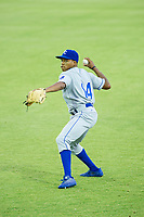 AZL Royals Tyler James (14) warms up in the outfield prior to the game against the AZL Mariners on July 29, 2017 at Peoria Stadium in Peoria, Arizona. AZL Royals defeated the AZL Mariners 11-4. (Zachary Lucy/Four Seam Images)