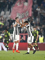 Football Soccer: UEFA Champions League Juventus vs Sporting Clube de Portugal, Allianz Stadium. Turin, Italy, October 18, 2017. <br /> Juventus' Miralem Pjanic (l) celebrates after scoring with his teammates Paulo Dybala (r) during the Uefa Champions League football soccer match between Juventus and Sporting Clube de Portugal at Allianz Stadium in Turin, October 18, 2017.<br /> UPDATE IMAGES PRESS/Isabella Bonotto