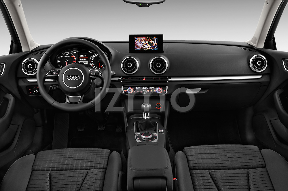 Straight dashboard view of a 2013 - 2014 Audi A3 Ambition 3-Door Hatchback.