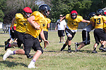 August 14, 2017- Tuscola, IL- Warrior defenders Gage Russell and Brayden VonLanken chase after the ball carrier during preseason practice at TCHS. Photo: Douglas Cottle]