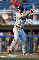 Connecticut Tigers shortstop Garrett Mattlage (1) at bat during a game against the Batavia Muckdogs on July 21, 2014 at Dwyer Stadium in Batavia, New York.  Connecticut defeated Batavia 12-3.  (Mike Janes/Four Seam Images)