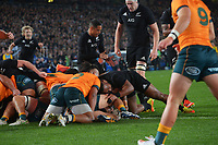 NZ's Sevu Reece scores on the stroke of halftime during the Bledisloe Cup rugby match between the New Zealand All Blacks and Australia Wallabies at Eden Park in Auckland, New Zealand on Saturday, 7 August 2021. Photo: Dave Lintott / lintottphoto.co.nz