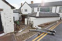 Pictured: The Bridge End Inn.<br /> Re: Cleanup after storm Dennis in Crickhowell, Wales, UK.
