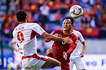 Nguyen Trong Hoang of Vietnam (R) fights for the ball with Baha' Seif of Jordan (L) during the AFC Asian Cup UAE 2019 Round of 16 match between Jordan (JOR) and Vietnam (VIE) at Al Maktoum Stadium on 20 January 2019 in Dubai, United Arab Emirates. Photo by Marcio Rodrigo Machado / Power Sport Images