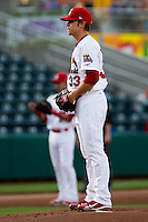 Michael Blazek (33) of the Springfield Cardinals on the mound during a game against the Tulsa Drillers on April 29, 2011 at Hammons Field in Springfield, Missouri.  Photo By David Welker/Four Seam Images.