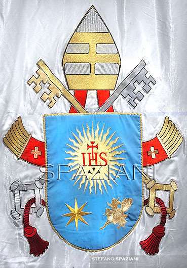 Coat of Armsof His Holiness Pope Francis; Lo Stemma di Papa Francesco.<br /> <br /> Pope Francis  during his first Angelus prayer in front of his summer residence in Castel Gandolfo,  July 14, 2013