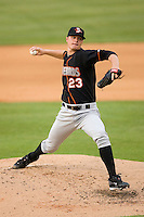 Starting pitcher Jesse Beal #23 of the Delmarva Shorebirds in action against the Kannapolis Intimidators at Fieldcrest Cannon Stadium May 14, 2010, in Kannapolis, North Carolina.  Photo by Brian Westerholt / Four Seam Images