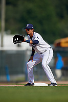 Princeton Rays first baseman Carlos Vargas (25) during the first game of a doubleheader against the Johnson City Cardinals on August 17, 2018 at Hunnicutt Field in Princeton, Virginia.  Johnson City defeated Princeton 6-4.  (Mike Janes/Four Seam Images)