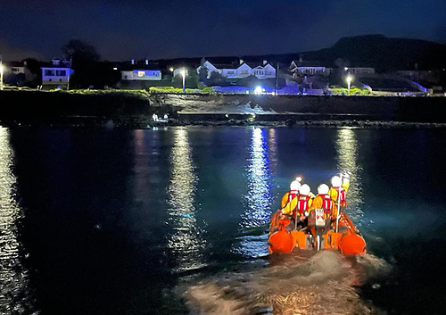 Larne RNLI's inshore lifeboat and crew set out in darkness