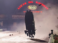 Sep 1, 2019; Clermont, IN, USA; NHRA pro mod driver Chad Green goes airborne as he crashes during qualifying for the US Nationals at Lucas Oil Raceway. Green was awake and alert and has been transported to a local hospital for further evaluation. Mandatory Credit: Mark J. Rebilas-USA TODAY Sports
