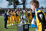 Lowestoft Town 2 Barrow 3, 25/04/2015. Crown Meadow, Conference North. Barrow make the six-hour trip to Suffolk needing a win to secure the title. The Conference North trophy is presented to Barrow. Photo by Simon Gill.
