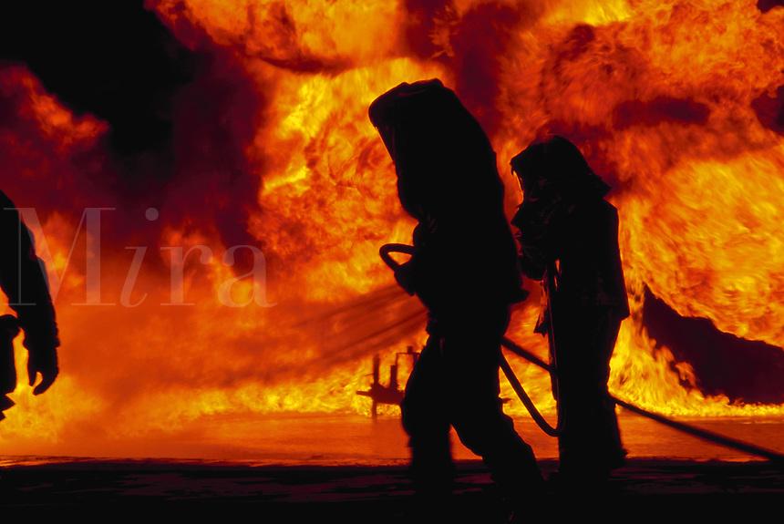 Airport fire crews training at Point Mugu Naval Air Station, California