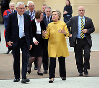 Pictured L-R: Professor Richard B Davies, Vice Chancellor of Swansea University and Hillary Clinton at Swansea University Bay Campus. Saturday 14 October 2017<br />Re: Hillary Clinton, the former US secretary of state and 2016 American presidential candidate will be presented with an honorary doctorate during a ceremony at Swansea University's Bay Campus in Wales, UK, to recognise her commitment to promoting the rights of families and children around the world.<br />Mrs Clinton's great grandparents were from south Wales.
