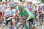 White Jersey Enric Mas (ESP) Deceuninck-Quick Step chats with Green Jersey holder Peter Sagan (SVK) Bora-Hansgrohe before the start of Stage 14 of the 2019 Tour de France running 117.5km from Tarbes to Tourmalet Bareges, France. 20th July 2019.<br /> Picture: Colin Flockton | Cyclefile<br /> All photos usage must carry mandatory copyright credit (© Cyclefile | Colin Flockton)