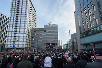 Supporters of far right activist Tommy Robinson gather in Media City in Manchester outside the BBC to watch his documentary about how he feels misrepresented by the BBC Panorama programme. Nearby there a was a counter demonstration by Stand Up To Racism. Manchester, England 23-2-18