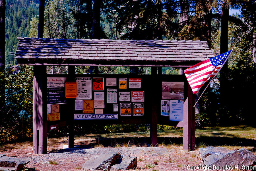 Kiosk in Panhandle Campground, Pend Orielle River, at Panhandle, below the town of Ione, in Northeastern Washington State winds through sparsely populated mountains near the Leclerc Creek Wildlife Area and Kalispell Indian Reservation.  Colville National Forest.
