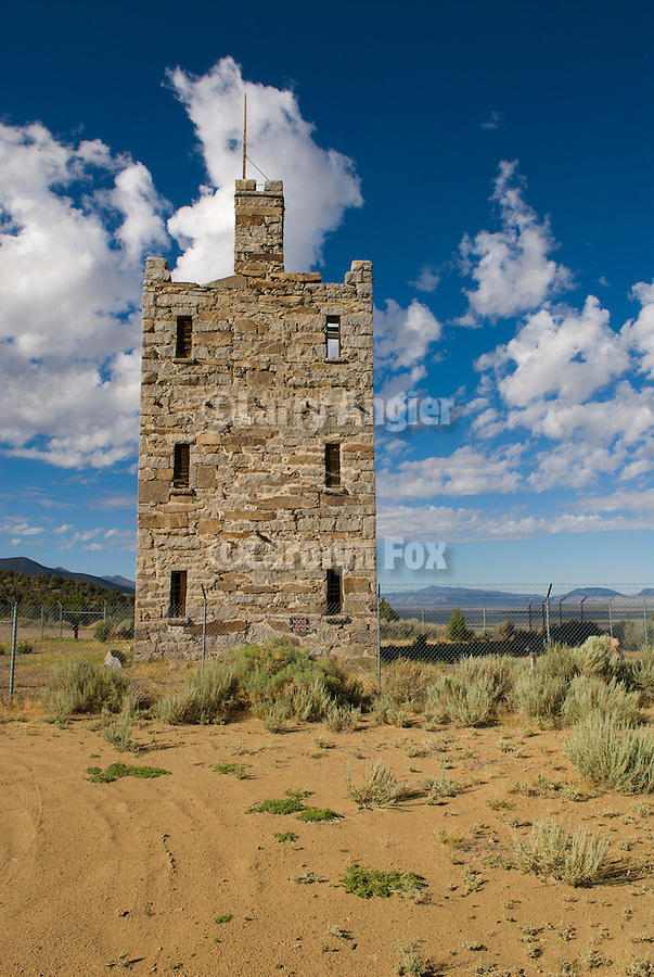 Stokes Castle completed in 1897, lived in by the family for a short time and now stone and iron ruins, Austin, Nevada.