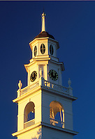 Kennebunk, ME, Maine, Steeple of the First Parish Unitarian Church in Kennebunk.