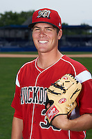 Batavia Muckdogs pitcher LJ Brewster (33) poses for a photo on July 8, 2015 at Dwyer Stadium in Batavia, New York.  (Mike Janes/Four Seam Images)