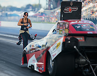 Sep 2, 2018; Clermont, IN, USA; Leah Pritchett backs up husband NHRA top alcohol funny car driver Gary Pritchett during qualifying for the US Nationals at Lucas Oil Raceway. Mandatory Credit: Mark J. Rebilas-USA TODAY Sports