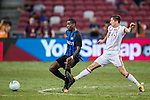 FC Internazionale Midfielder Geoffrey Kondogbia (L) fights for the ball with Bayern Munich Forward Robert Lewandowski (R) during the International Champions Cup match between FC Bayern and FC Internazionale at National Stadium on July 27, 2017 in Singapore. Photo by Marcio Rodrigo Machado / Power Sport Images