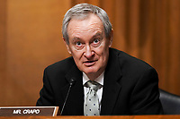 Sen. Mike Crapo (R-Idaho) gives an opening statement during a Senate Finance Committee nomination hearing for Deputy Treasury Secretary nominee Adewale Adeyemo on Tuesday, February 23, 2021 at Capitol Hill in Washington, D.C.<br /> Credit: Greg Nash / Pool via CNP /MediaPunch