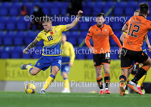 St Johnstone v Dundee United…10.11.20   McDiarmid Park      BetFred Cup<br />Callum Hendry shoots wide<br />Picture by Graeme Hart.<br />Copyright Perthshire Picture Agency<br />Tel: 01738 623350  Mobile: 07990 594431
