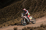 Motorcycle rider JPaulo Goncalves from Portugal riding his Honda bike during the 5th stage of the Dakar Rally 2016 in the Bolivian Altiplano.