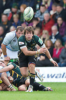 Lee Dickson of Northampton Saints passes from the base of the scrum during the Heineken Cup match between Northampton Saints and Glasgow Warriors  at Franklin's Gardens on Sunday 14th October 2012 (Photo by Rob Munro)