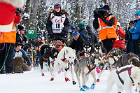 Emily Maxwell leaves the start line during the restart of the 2019 Iditarod race in Willow, Alaska on Sunday March 3, 2019..<br /> <br /> Photo by Jeff Schultz/  (C) 2019  ALL RIGHTS RESERVED