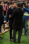 Atletico de Madrid's coach coach Diego Pablo Simeone and RCD Espanyol coach Quique Sanchez Flores during match of La Liga between Atletico de Madrid and RCD Espanyol at Vicente Calderon Stadium in Madrid, Spain. December 03, 2016. (ALTERPHOTOS/BorjaB.Hojas)