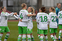 20151213 - KOELN , GERMANY : Wolfsburg 's players pictured celebrating during the female soccer match between 1.FC Koln and 1. VFL Wolfsburg , on the 11th day of the German Bundesliga season 2015-2016 in sudstadion in Koln. Sunday 13 December 2015 . PHOTO DAVID CATRY