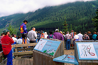 Tourists at Upper Spiral Tunnel Viewpoint and Display along Trans Canada Highway 1, near Field, BC, British Columbia, Canada