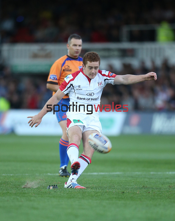 Paddy Jackson scores Ulsters first points of the match with a penalty kick.<br /> RaboDirect Pro 12<br /> Newport Gwent Dragons v Ulster<br /> Rodney Parade<br /> 06.09.13<br /> <br /> ©Steve Pope-SPORTINGWALES