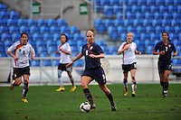 Lauren Cheney pushes the ball upfield. The USA captured the 2010 Algarve Cup title by defeating Germany 3-2, at Estadio Algarve on March 3, 2010.